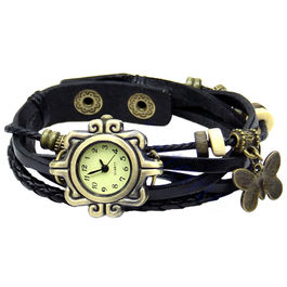 Surya Vintage Style Fashion Analog Watch with Brown Dial for Women in Black Color-WWB-1