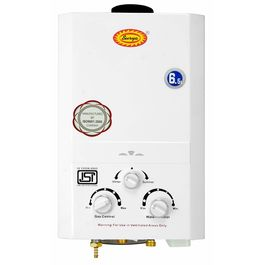 Surya Instant Gas Water Heater Geyser with Heavy Copper Tank in 6.5 litres Instant/min Model White
