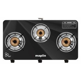 Maplin Cooktop 3 Burner Gas Stove in Black Colour (with Free Pipe and Lighter)