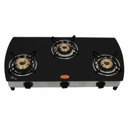 Surya Three Burner Curve Black Auto Ignition Gas Cooktop