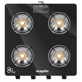 Maplin Cooktop 4 Burner Gas Stove in Black Colour (with Free Pipe and Lighter)