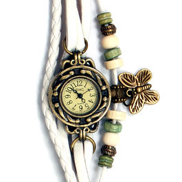 Surya Vintage Style Fashion Analog Watch with Brown Dial for Women in White Color