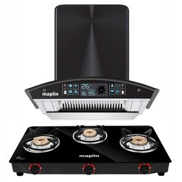 Maplin Set of Kitchen Chimney in 60 cm (Back) and Maplin 3 Burner Gas Cooktop (Manual)