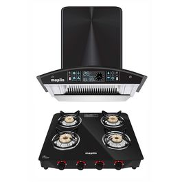 Maplin Combo set of Kitchen Chimney in 60 cm (Black) and 4 Burner Gas Cooktop (Manual)