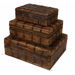 Antique Indian Handmade Mahogany Wooden & Iron Box Set of Three Pieces With Sizes 30.5x 22.5 x 11.5 cm / 25.5 x 17 x 9.5 cm / 20.5 x 12.5 x 6.5 cm