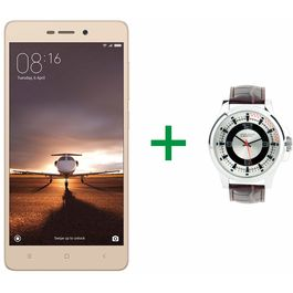 """Redmi 3S Prime 5"""" Touch-screen 4G(Reliance Jio 4G Sim Support) 3GB RAM & 32 GB Internal Memory and 13 Mpix /5 Mpix Hd Smartphone with UCB Mens Watch Combo, gold, 7 days return / replacement policy after delivery , generally delivered by 5 working days"""