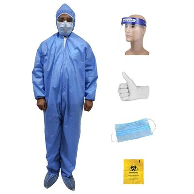 Surya Maplin 5-in-1 PPE Laminated 70+ 20GSM Kit Personal Protective Equipment Combo with Coverall Suit (Zipper Seal) , Face Mask, Hand Gloves, Garbage Bag and Disposable Face Shield in Blue Colour