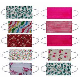 Maplin Pure Cotton Mask Washable & Reusable 100 GSM 10 Pcs Set in Multicolour