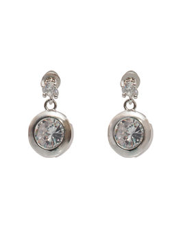Eternz suave collection silver plated round white stone hanging earring for women