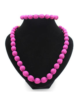 Eternz handmade pink silk fabric collection necklace and bracelet for women