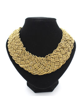 Eternz reve collection handmade golden bead choker necklace for women