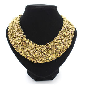 Eternz reve collection handmade golden bead choker necklace for women