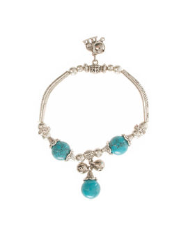 Eternz handmade valentien collection bracelet with blue turquoise beads and little heart charms for women