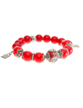 Eternz handmade collection bracelet with red crystals and fish charms for Women