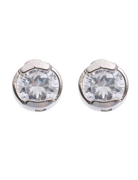 Eternz suave collection silver plated round white stone stud earring for women