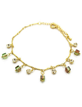Eternz classic gold plated chain type bracelet with bright stones and green beads for Women