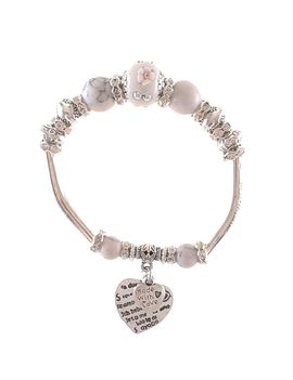 Eternz handmade valentine collection bracelet with pink beads, silver plating and heart charms for Women