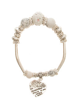 Eternz handmade valentine collection bracelet with white beads, silver plating and heart charms for Women