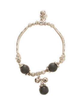 Eternz handmade valentien collection bracelet with Black turquoise beads and little heart charms for women