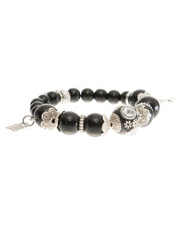 Eternz handmade collection bracelet with Black crystals and fish charms for Women
