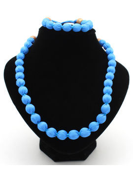 Eternz handmade blue silk fabric collection necklace and bracelet for women