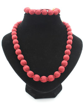Eternz handmade red fabric collection necklace and bracelet for women