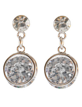 Eternz silver plated drop earring with white stones for women