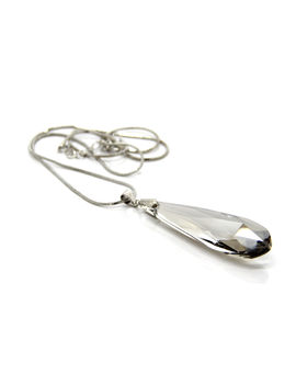 Eternz silver plated long chain with a lengthy grey stone pendant for Women