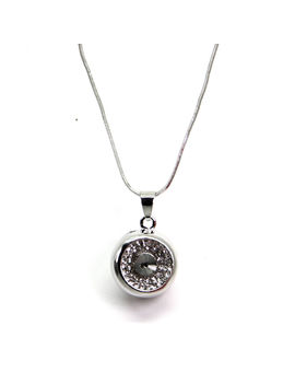 Eternz long chain silver plated with a hollow sphere pendant for Women