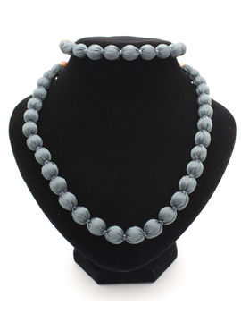 Eternz handmade grey fabric collection necklace and bracelet for women