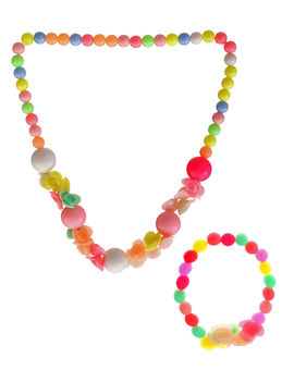 Eternz kids collection colourful different shaped beads and charm necklace set (bracelet and neckpiece)