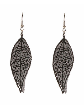Eternz reve collection leaf shaped black and silver earring for women