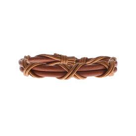 Eternz handmade light brown leather twin strap bracelet