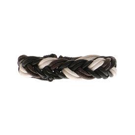 Eternz handmade leather bracelet with tricolour twist strap