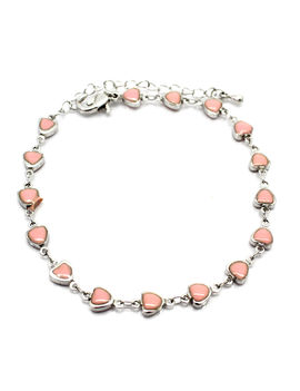 Eternz classic silver plated chain type bracelet with bright heart shaped pink beads for Women