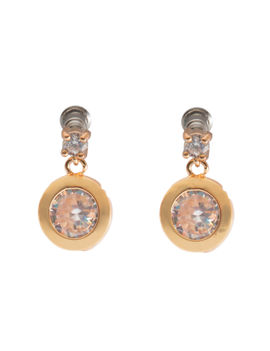 Eternz suave collection gold plated round stone hanging earring for women