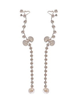 Eternz suave collection silver plated earcuff with a pearl drop for Women