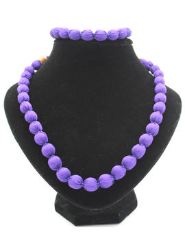 Eternz handmade violet silk fabric collection necklace and bracelet for women