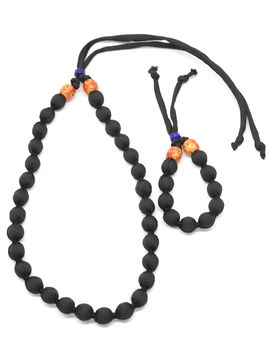 Eternz handmade black fabric collection necklace and bracelet for women