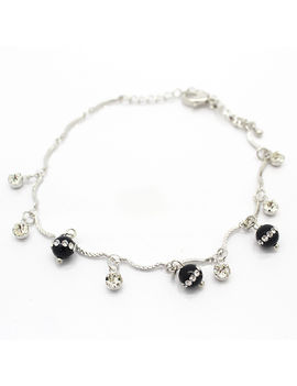 Eternz classic silver plated chain type bracelet with bright black glass beads and white stones for Women