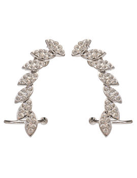 Eternz suave collection silver plated earcuff with white stones for Women