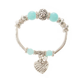 Eternz handmade valentine collection bracelet with blue beads, silver plating and heart charms for Women