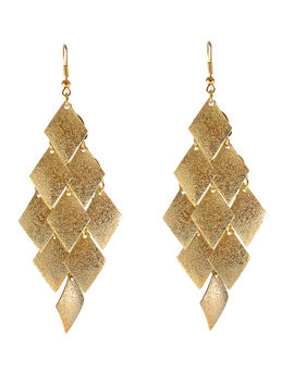 Eternz reve collection gold plated dangler earrings with tiny triangular charms for women
