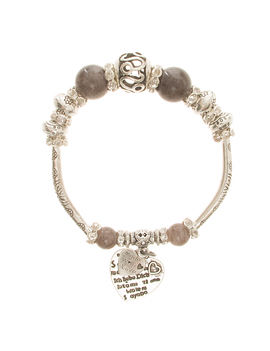 Eternz handmade valentine collection bracelet with grey beads, silver plating and heart charms for Women