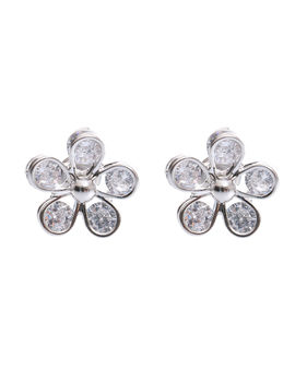 Eternz suave collection silver plated flower shaped stud earring with bright stones for women