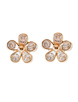 Eternz suave collection gold plated flower shaped stud earring with bright stones for women