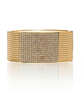 Eternz designer collection gold plated cuff with white stone work at the centre for Women