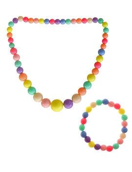 Eternz kids collection colourful round beaded necklace set (bracelet and neckpiece)