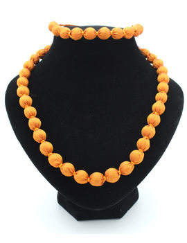 Eternz handmade orange silk fabric collection necklace and bracelet for women