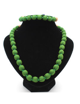 Eternz handmade green fabric collection necklace and bracelet for women